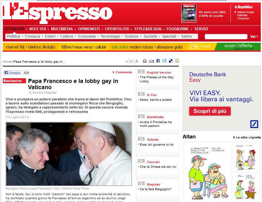 La publicación italiana L`Espresso desvela la trama que busca frenar las reformas del Papa