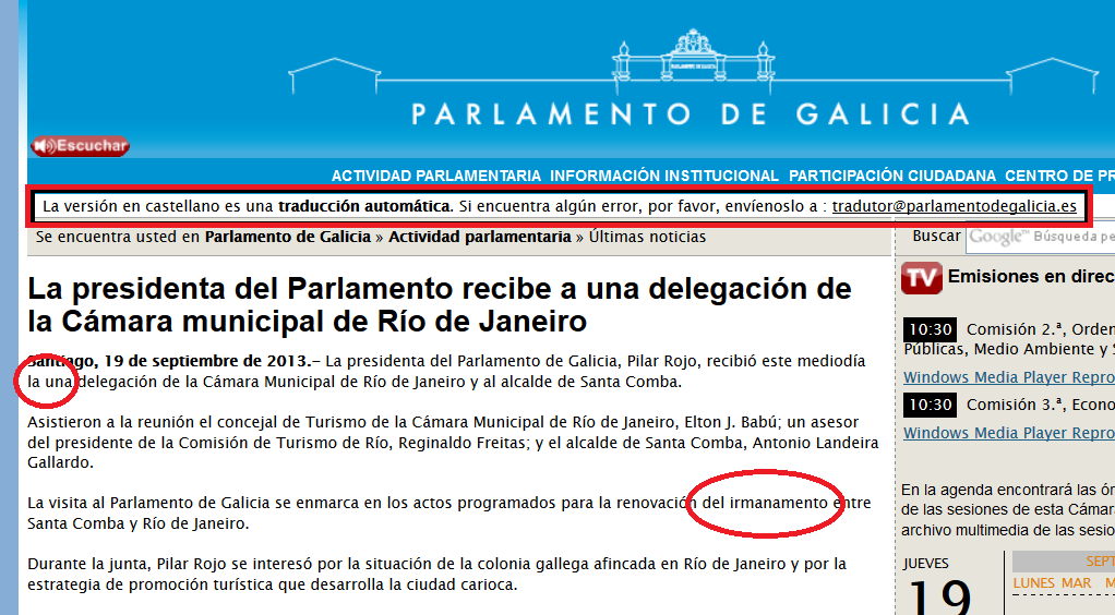 Las err�neas traducciones del Parlamento de Galicia | ICNDiario