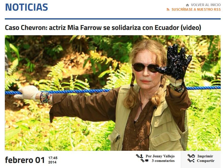 Mia Farrow confirma que le pagaron por hacer campaña en contra de Chevron en Ecuador