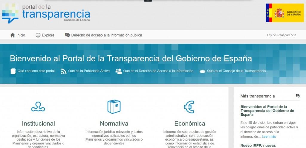 Quedó habilitado para consultar el Portal de Transparencia del Gobierno de España