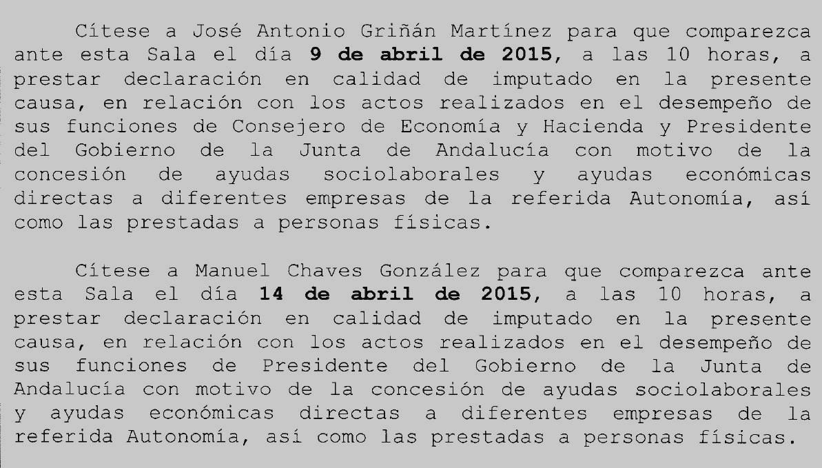 Imputan a dos ex presidentes de Andalucía por el caso de los EREs