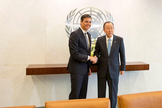 """Pedro Sánchez le habló a Ban Ki-moon de una España y una UE """"comprometidas con el multilateralismo"""""""