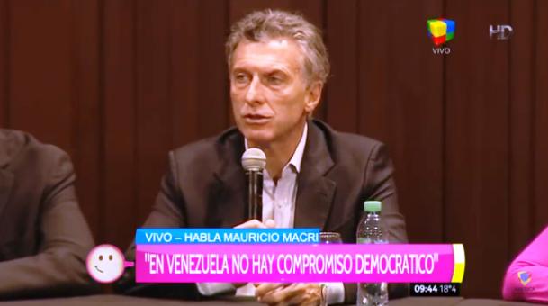 Macri: 'Pediremos la aplicación de la cláusula democrática del Mercosur a Venezuela'