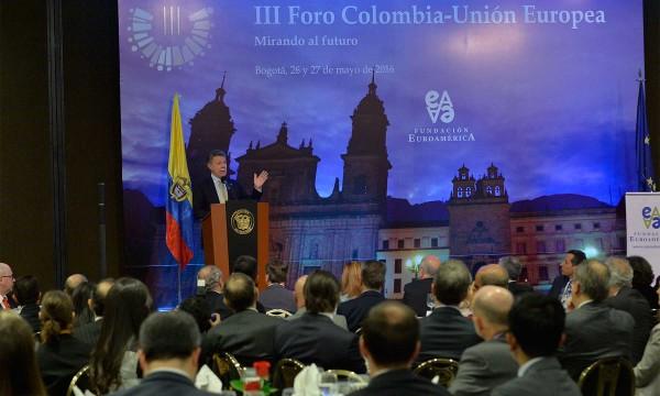 Santos destaca apoyo de la Unión Europea al proceso de paz en Colombia