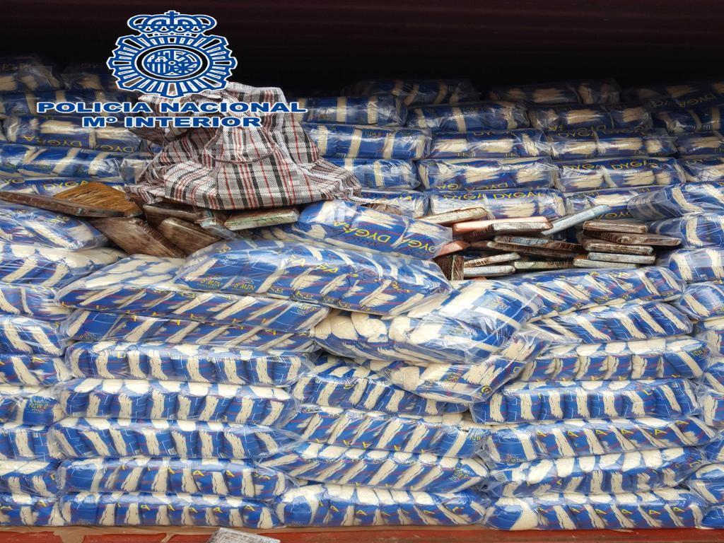 Cargamento con arroz de Brasil llegó a España con 42 kilos de cocaína