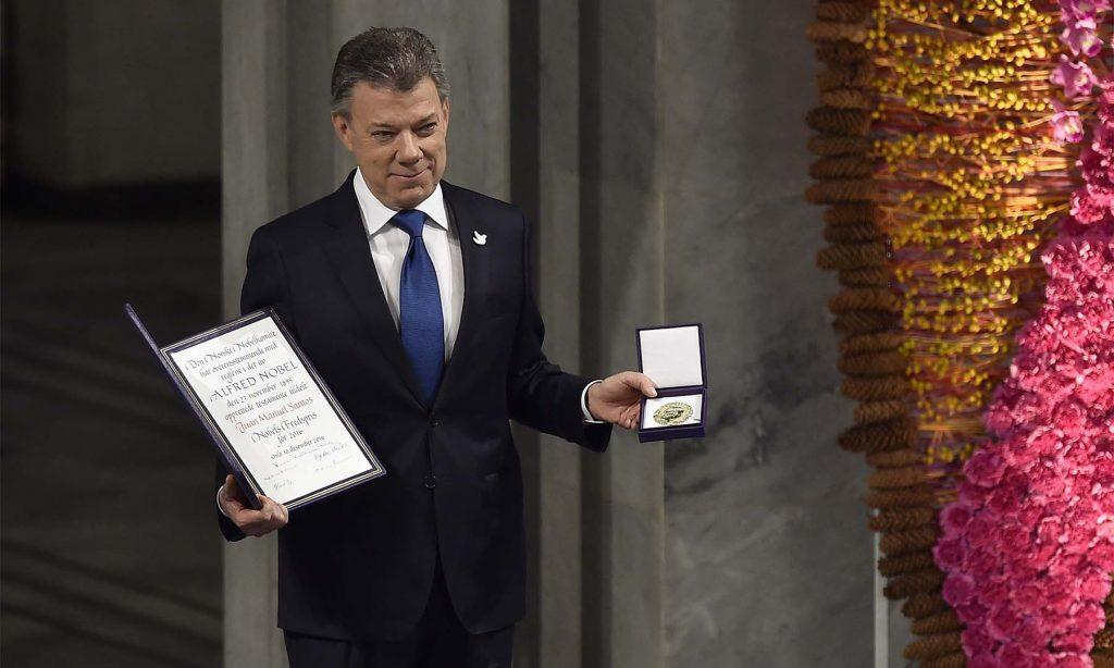 'Hay una guerra menos en el mundo y es la de Colombia', dijo el Presidente Santos al recibir el Premio Nobel de paz 2016