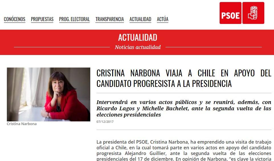 ¿Intromisión del PSOE en las elecciones de Chile?